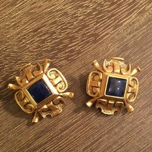 Vintage Museum Clip-on Earrings Cobalt Blue/Gold